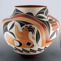 Cerno, Barbara & Joseph  – Large Jar with Parrots & Rainbow