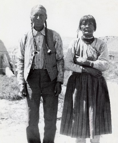 "Geronimo Tafoya and Sara Fina Tafoya, Circa 1920. Courtesy of the Tafoya Family and ""Born of Fire: The Life and Art of Margaret Tafoya""."