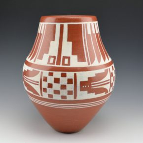 Atencio, GIlbert – Red Jar with Feather & Rain Pattern