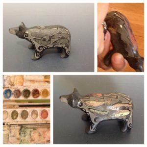 Jennifer Moquino Painting pottery process