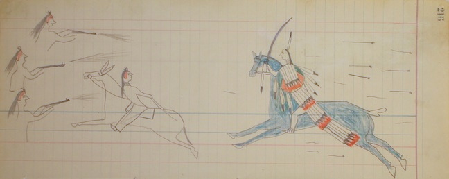 "Sword Carrier on a Blue Horse, a mounted Sioux warrior, wielding a shield, charges a Crow firing line in pursuit of a Crow warrior riding a mule, Page 216 from the Macnider Ledger Book, Sioux, graphite and color pencil on ledger paper: 14.5""w x 5.75h (circa 1880).  Collection of E. J. Guarino"