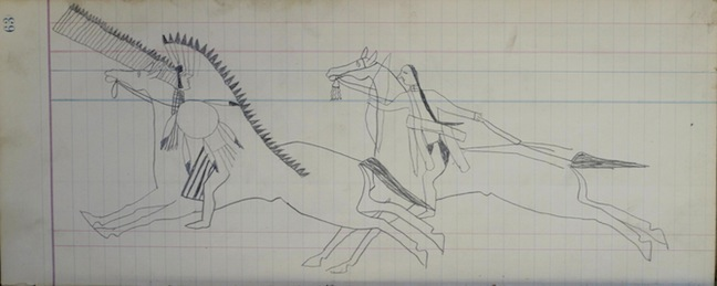 "Two Riders, a mounted Sioux warrior pursues a Crow foe with a quirt and a quiver. The details of the mounted Crow antagonist have yet to be completed, though he is ornately depicted with a war bonnet, a lance and a shield; graphite pencil; Page 63 from the Macnider Ledger Book, Sioux, graphite on ledger paper: 14.5""w x 5.75h (circa 1880).  Collection of E. J. Guarino"