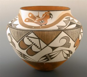 Three Color polychrome jar by Lolita Torivio Concho.