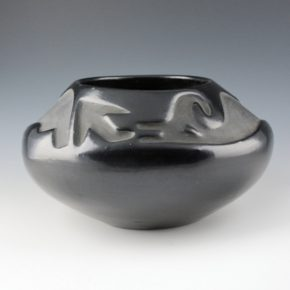 Martinez, Terasita & Juan – Large Bowl with Carved Avanyu (1930's)