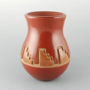 Archuleta,  Mary Ester – Red Jar with Kiva Step Pattern