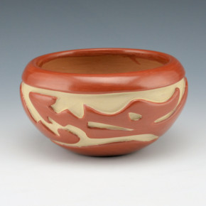 Cain, Mary – Red Bowl with Carved Avanyu