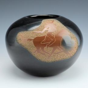 """Haungooah, Art Cody- Large """"Buffalo Hunt"""" Bowl (1973)"""