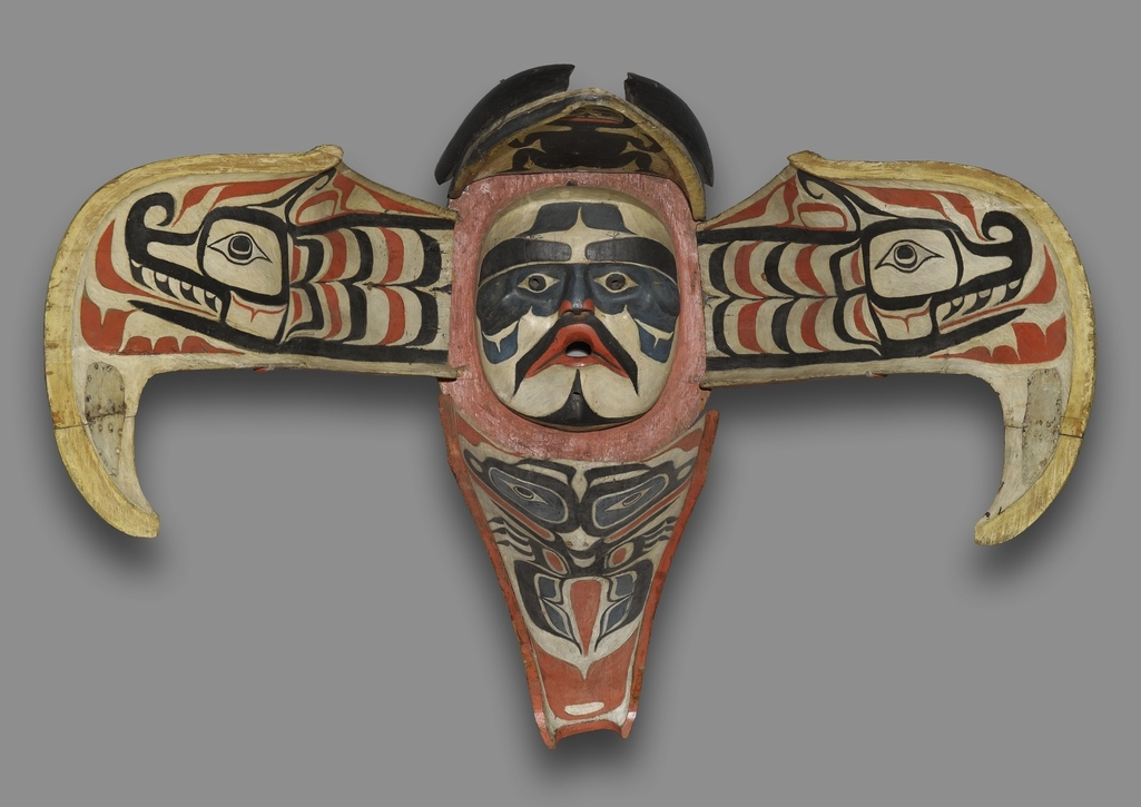 Namgis (Native American). Thunderbird Transformation Mask, 19th century. Cedar, pigment, leather, nails, metal plate, Open: 48 x 71 x 15 in. (121.9 x 180.3 x 38.1 cm). Brooklyn Museum, Museum Expedition 1908, Museum Collection Fund, 08.491.8902. Creative Commons-BY