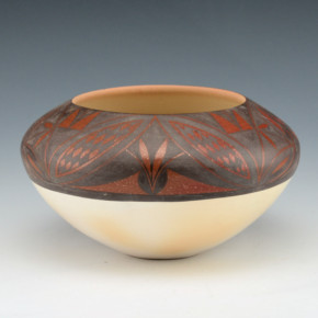 Lucas, Yvonne – Black-on-Red Bowl with Plant Designs