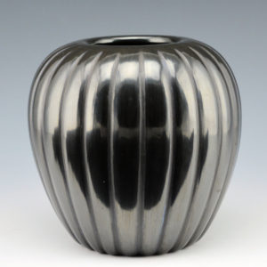 Baca, Alvin – Black Melon Jar with 24 Ribs