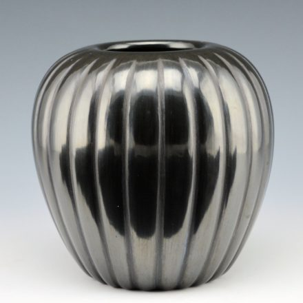 Baca, Alvin – Black Melon Jar with 24 Ribs