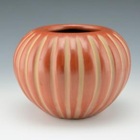 Baca, Angela – Red & Tan 24 Rib Melon Bowl
