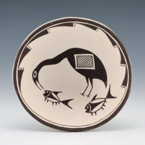 Lewis, Emma – Plate with Mimbres Bird & Fish