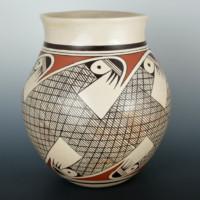 """Naha, Helen """"Featherwoman"""" – Large Bird Migration Jar"""
