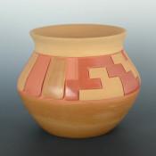 Roller, Jordan -Red & Tan Jar with Feather Pattern