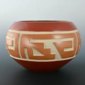 Tafoya, LuAnn – Red & Tan Bowl with Lightning