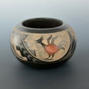 Moquino, Corn – Black & Sienna Bowl with Pueblo Birds