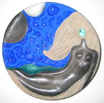 4. Mermaid plate w acrylic paint