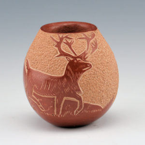 Haungooah, Art Cody – Mini Bowl with Deer Scene (1974)