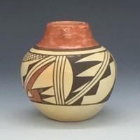 "Navasie, Eunice ""Fawn"" – Small Jar with Geometrics"