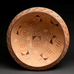 Koopee, Jacob -19″ Wide Bowl with Migration Pattern & Hopi Cradle Doll Designs