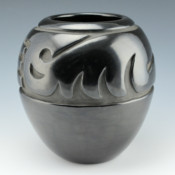 Tafoya, Margaret – Black Jar with Cloud and Rain Designs (1980's)