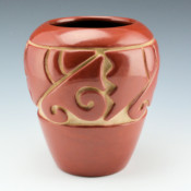 Tafoya, Margaret – Red Water Jar with Prayer Feather Pattern (1980's)