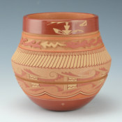 Curran, Dolores – Large Jar with Carved Avanyu & Old Style Avanyu