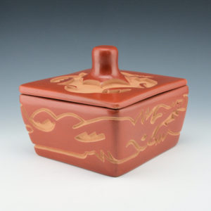 Ebelacker, Jason – Red Carved Box with Avanyu & Avanyu Lid