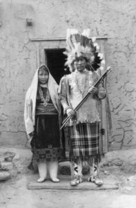 Victorion Sisneros, Governor of Santa Clara Pueblo, and his wife Apolonia, New Mexico, Circa 1935.  Parkhurst T. Harmon.  030764.  Palace of the Governors Photo Archive, New Mexico History Museum, Santa Fe