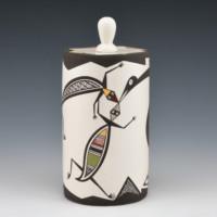 Natseway, Charmae – Lidded Cylinder w/ Bird & 2 Lizards