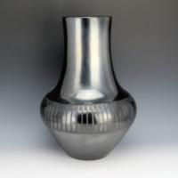 """Martinez, Maria – Gunmetal Long Neck Feather Design Jar """"Maria Popovi"""" (1956-8)"""