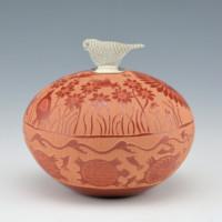 Duwyenie, Debra & Preston – Seedpot with Quail, Turtles and Quail Lid
