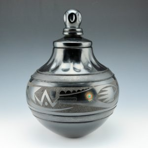 Sanchez, Russell  – Large Jar with Gourd Indented Neck and Lid and Avanyu