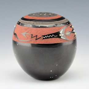 Haungooah, Art Cody – Seedpot with Avanyu & Bead Insets