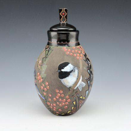 Moquino, Jennifer – Lidded Jar with Blue Bird, Chickadee and Kinglet Birds
