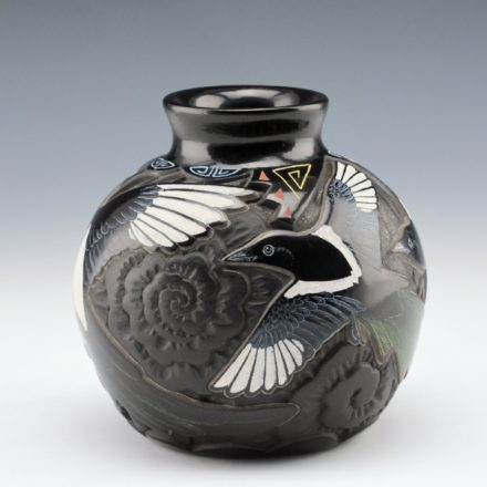 Moquino, Jennifer – Carved Jar with Magpies