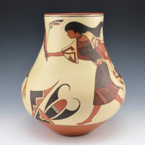 de la Cruz, Juan and Lois Gutierrez  – Jar with Pueblo Woman and Hummingbirds