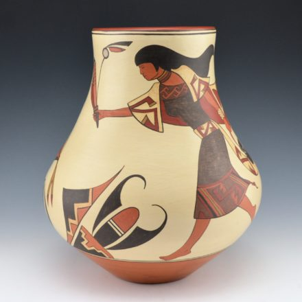 de la Cruz, Juan and Lois Gutierrez  – Jar with Pueblo Woman and Hummingbirds
