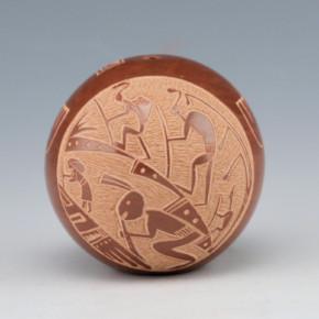 Haungooah, Art Cody – Brown Seedpot with Mimbres Figures