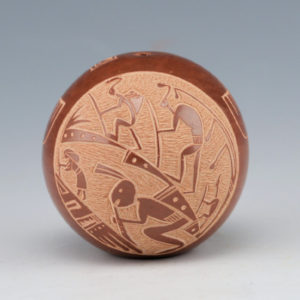 Haungooah, Art Cody – Brown Seedpot with Mimbres Figures