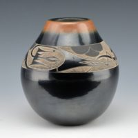 Haungooah, Art Cody & Martha – Black & Sienna Jar with Avanyu (1977)