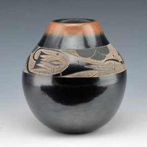 Haungooah, Art Cody & Martha – Black & Sienna Jar with Avanyu (1977)
