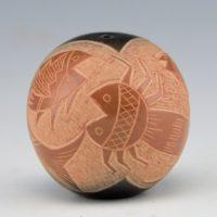Haungooah, Art Cody – Black & Sienna Seedpot With Tadpole & Fish