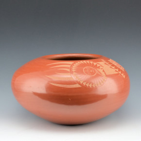 Haungooah, Art Cody – Large Red Bowl with Sun Figure (1981)