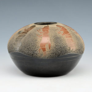 Haungooah, Art Cody – Black & Sienna Bowl with Yei Dancers (1973)