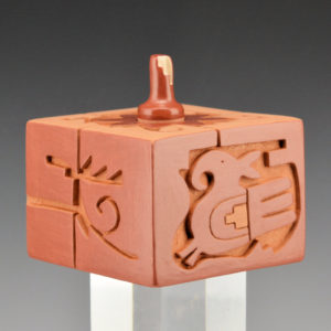 Cain, Linda – Lidded Square Seedpot with Bird & Clouds