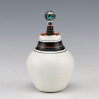 Wildflower, Theresa – Mini Lidded Jar with Zuni Shalako Katsina
