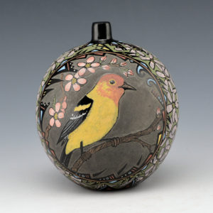 Moquino, Jennifer – Seed Jar with Chickadee and Western Tanager