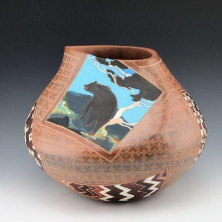 """Folwell, Susan – """"Timberline"""" Bears & Navajo Rugs Jar"""